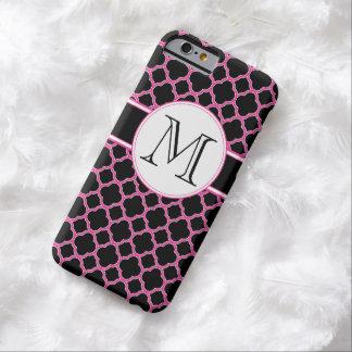 Black and Pink Quatrefoil Monogram iPhone 6 Case