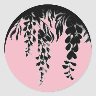 Black and Pink Silhouette Grape Vine shown on a Classic Round Sticker
