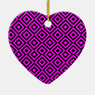 Black And Pink Square 001 Pattern Ceramic Heart Decoration