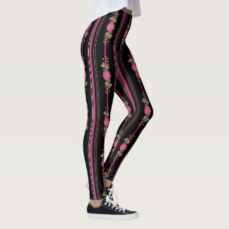 Black and Pink Stripes and Floral Leggings