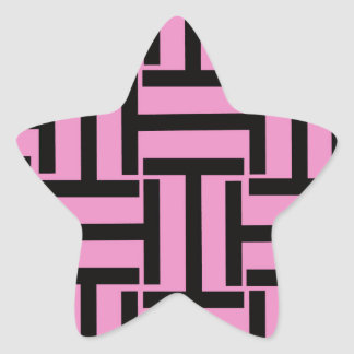 Black and Pink T Weave Star Sticker