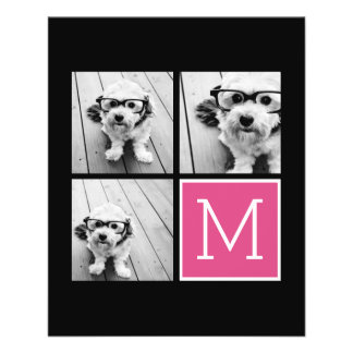 Black and Pink Trendy Photo Collage with Monogram Flyer