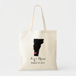 Black and Pink Vermont Wedding Welcome Tote Bag