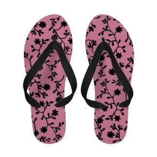 Black and pink vine flip flops