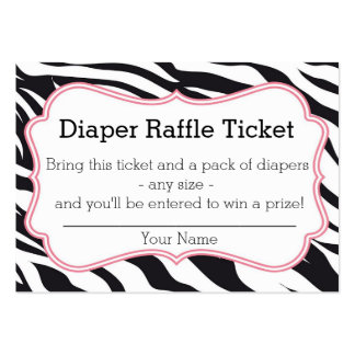 Black and Pink Zebra Diaper Raffle Ticket Business Card Template