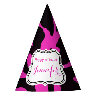 Black and pink zebra jungle animal fashion party hat