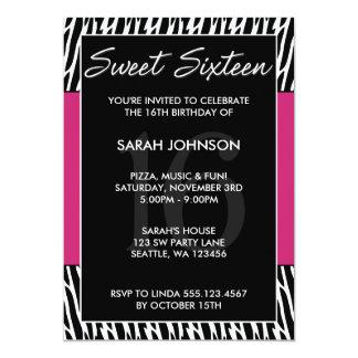 Black and Pink Zebra Pattern Sweet 16 Birthday 13 Cm X 18 Cm Invitation Card