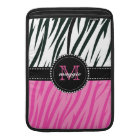 Black and Pink Zebra Print Custom Monogram girly MacBook Sleeve