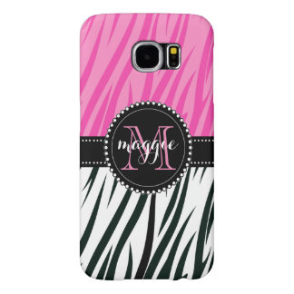 Black and Pink Zebra Print Custom Monogram girly Samsung Galaxy S6 Cases