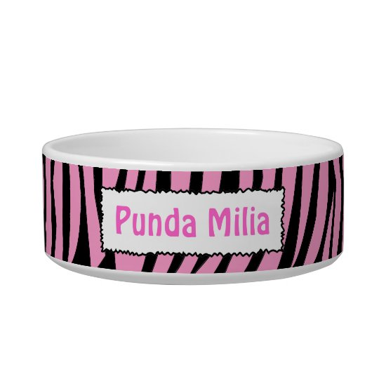 Black and Pink Zebra Stripes Personalised Pet Bowl