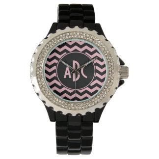 Black and Pink Zigzag Monogram Watch