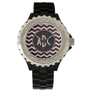 Black and Pink Zigzag Monogram Watches