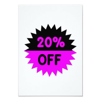 Black and Purple 20 Percent Off 9 Cm X 13 Cm Invitation Card