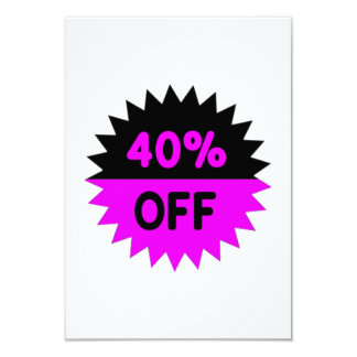 Black and Purple 40 Percent Off 3.5x5 Paper Invitation Card