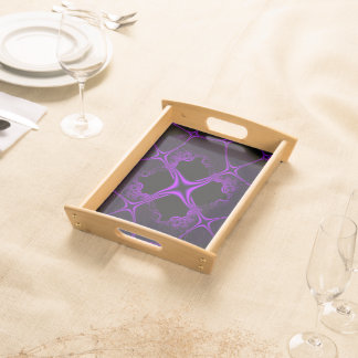Black And Purple Abstract Design Serving Tray