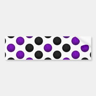 Black and Purple Basketball Pattern Bumper Sticker