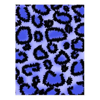 Black and Purple-Blue Leopard Print Pattern. Postcard