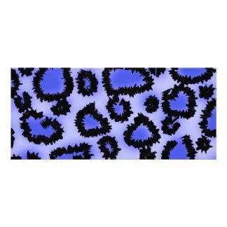 Black and Purple-Blue Leopard Print Pattern. Rack Card