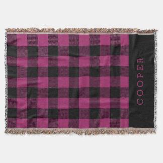Black and Purple Buffalo Check Monogram Throw Blanket