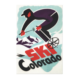 Black and Purple Clothed Skier Canvas Print