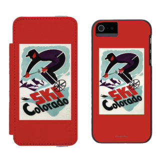 Black and Purple Clothed Skier Incipio Watson™ iPhone 5 Wallet Case