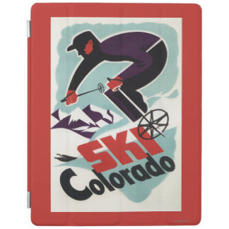 Black and Purple Clothed Skier iPad Cover