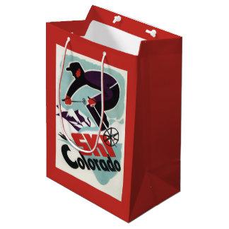 Black and Purple Clothed Skier Medium Gift Bag