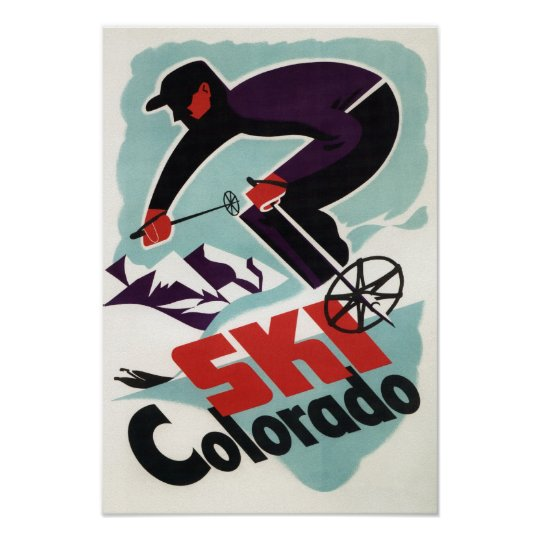 Black and Purple Clothed Skier Poster
