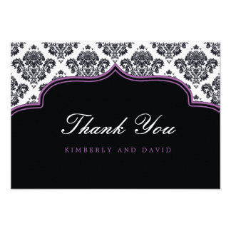 Black and Purple Damask Label Thank You Card