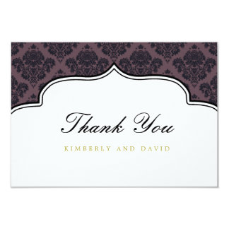 Black and Purple Damask Label Thank You Card Custom Invites