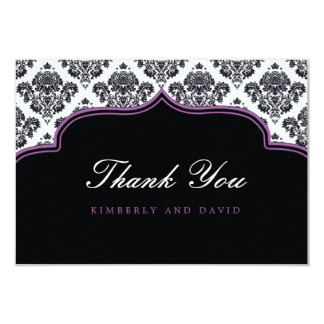 Black and Purple Damask Label Thank You Card Personalized Invite