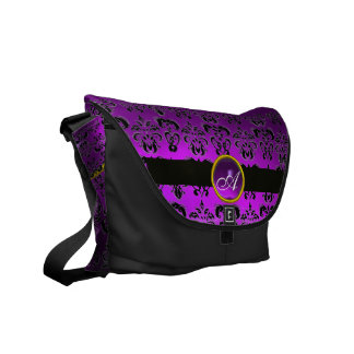 BLACK AND PURPLE DAMASK MONOGRAM,Amethyst Courier Bags