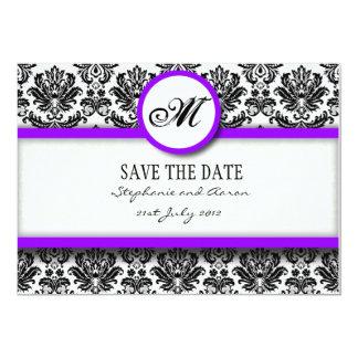 "Black and Purple Damask Monogram Save The Date 5"" X 7"" Invitation Card"