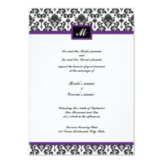 Black and Purple Damask Monogram Wedding Invite