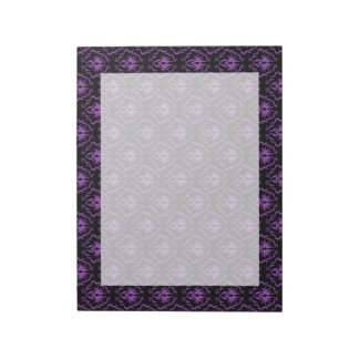 Black and Purple Damask Pattern. Gothic. Notepad