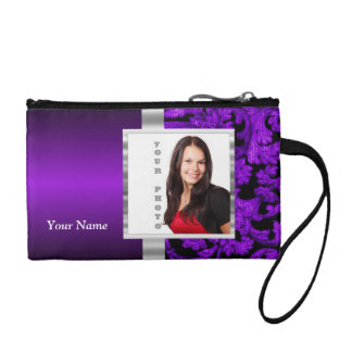 Black and purple floral damask template coin purse