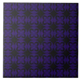 Black and Purple Geometric Floral Pattern Ceramic Tile