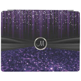 Black and Purple Glitter with Starlight Pattern iPad Cover