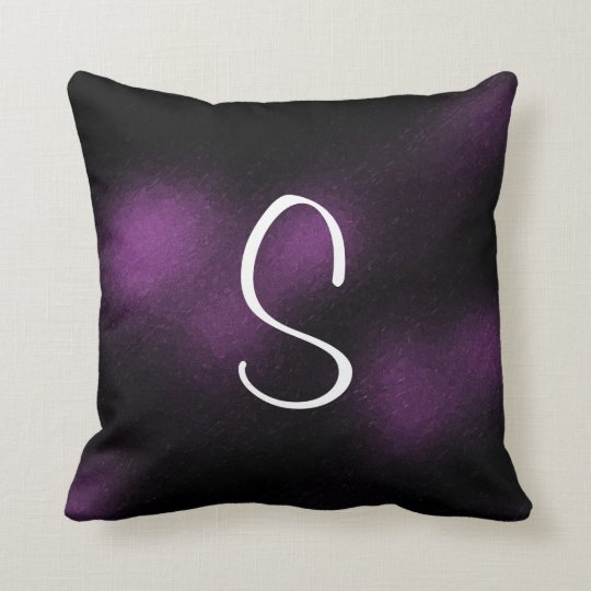 Black and Purple Goth Pattern Initial Letter Cushion