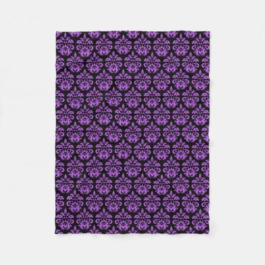 Black and purple gothic victorian damask fleece blanket