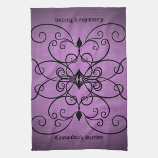 Black and purple hearts and swirls personalized tea towel