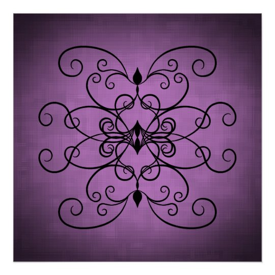 Black and purple hearts and swirls poster