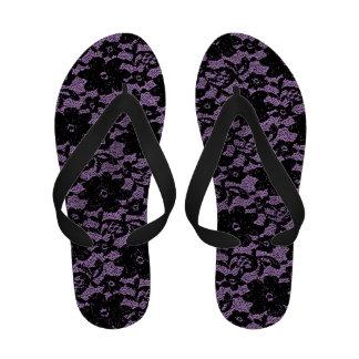 Black and purple lace flip flops