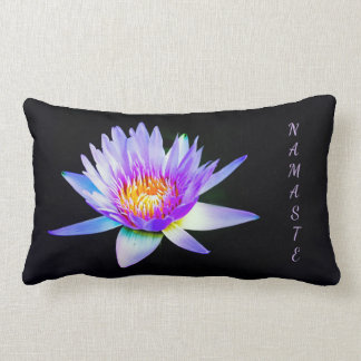 Black and Purple Namaste purple Lotus Lumbar Cushion
