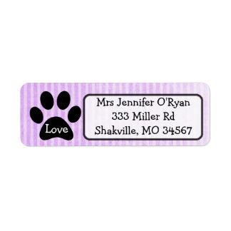 Black and Purple Paw Print Return Address Label