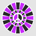 BLACK AND PURPLE PEACE SIGN ROUND STICKERS
