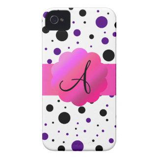 Black and purple polka dots monogram iPhone 4 cases