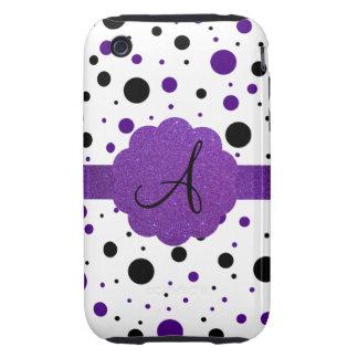 Black and purple polka dots monogram glitter tough iPhone 3 case