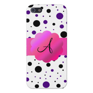 Black and purple polka dots monogram case for iPhone 5