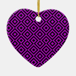 Black And Purple Square 001 Pattern Ceramic Heart Decoration